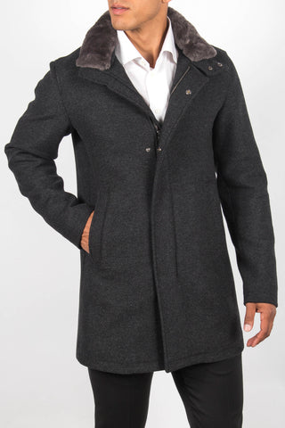 Fur-Trimmed High Neck Coat