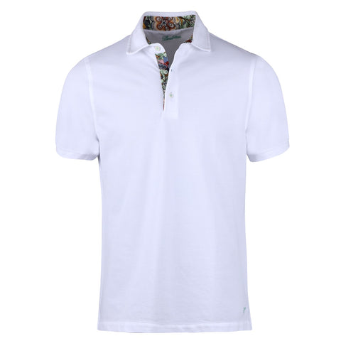 Flower Patterned Contrast Polo Shirt