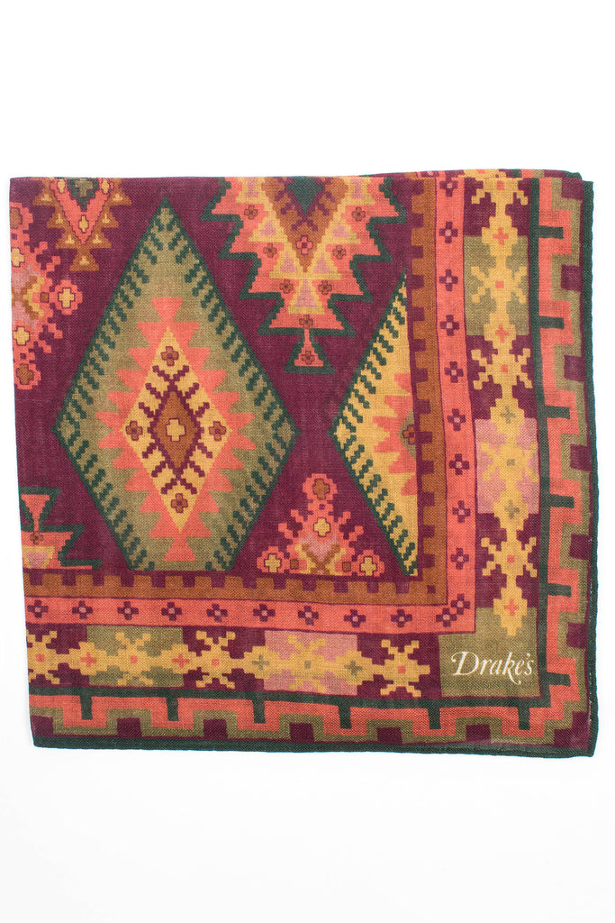 Kilim Print Pocket Square