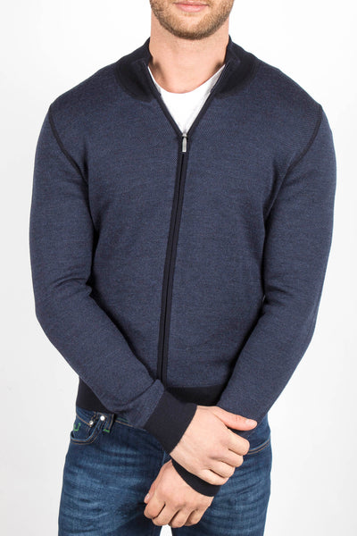 Salt and Pepper Stitch Zip Up