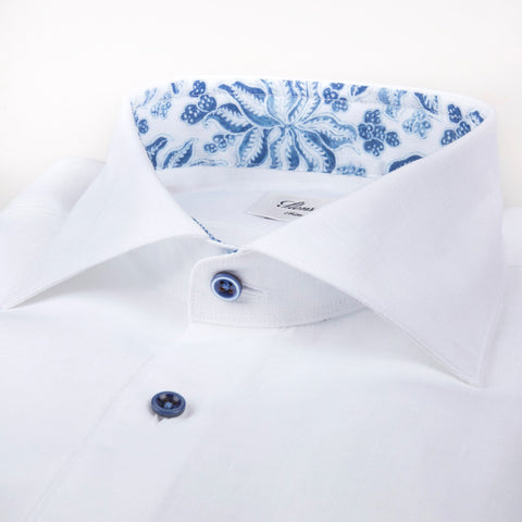 White Linen Shirt with Contrast Details