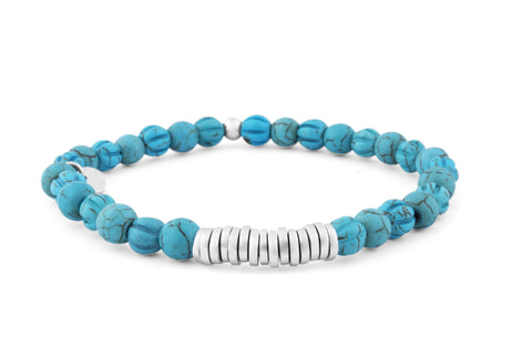 Beaded Bracelet with Silver Spacer Discs