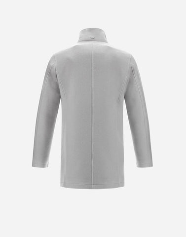 Diagonal Twill Car Coat With Detachable Fur Collar