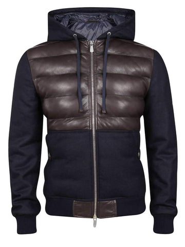 Leather & Wool Hooded Bomber