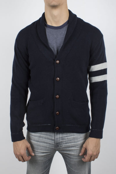 'Side Striped' Shawl Collar Cardigan