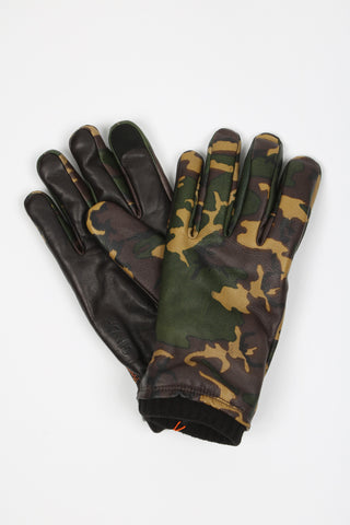 'Woodlands' Leather Camo Gloves