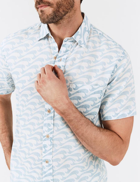 Rolling Waves Motif Sport Shirt