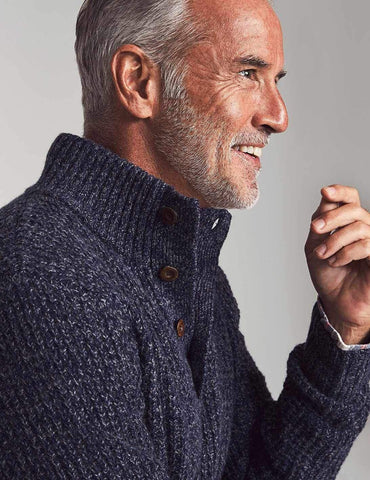 Cashmere 1/4 Button-Deep Sweater