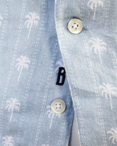 Linen Palm Tree Print Shirt
