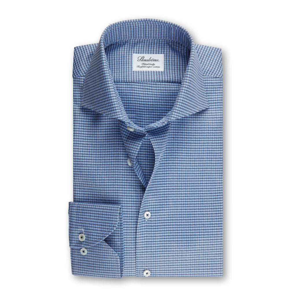 Fitted Body - Blue Micro Patterned Shirt