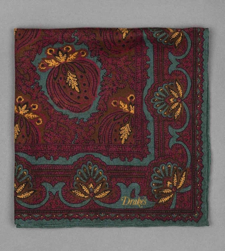 Baroque Paisley Print Pocket Square