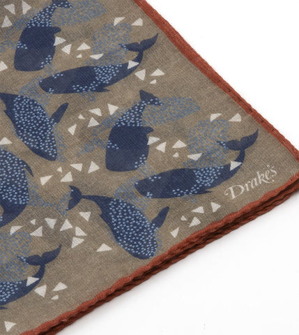 Whale Print Pocket Square