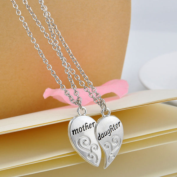 Mother Daughter 2pc Heart Necklace