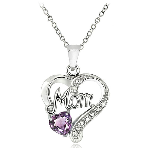 Sterling Silver Amethyst & Diamond Accent Mom Heart Necklace