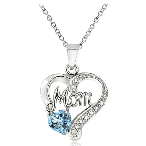 Sterling Silver Blue Topaz & Diamond MOM Heart Necklace