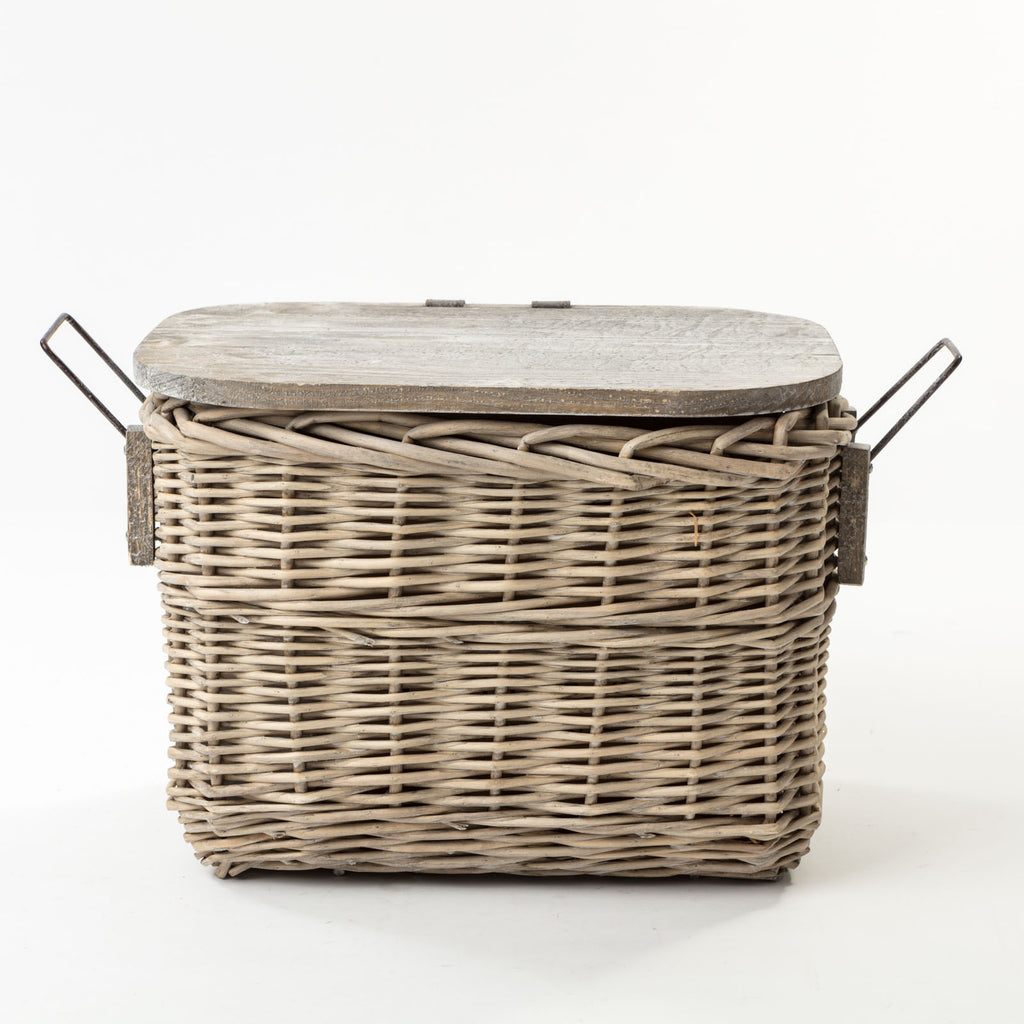 The Kingston Wooden Top Basket - Available in Light and Dark Wicker