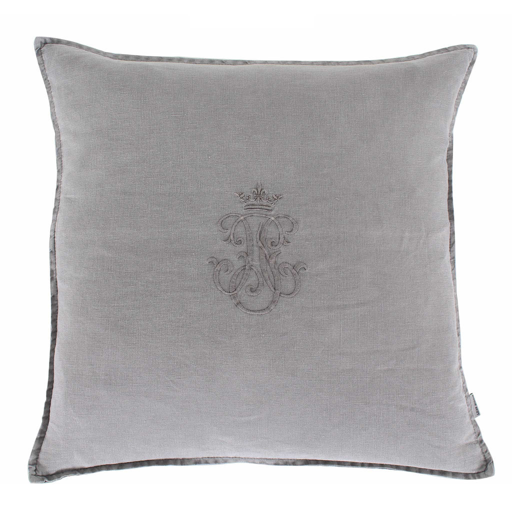 Grey Linen Monogram Cushion
