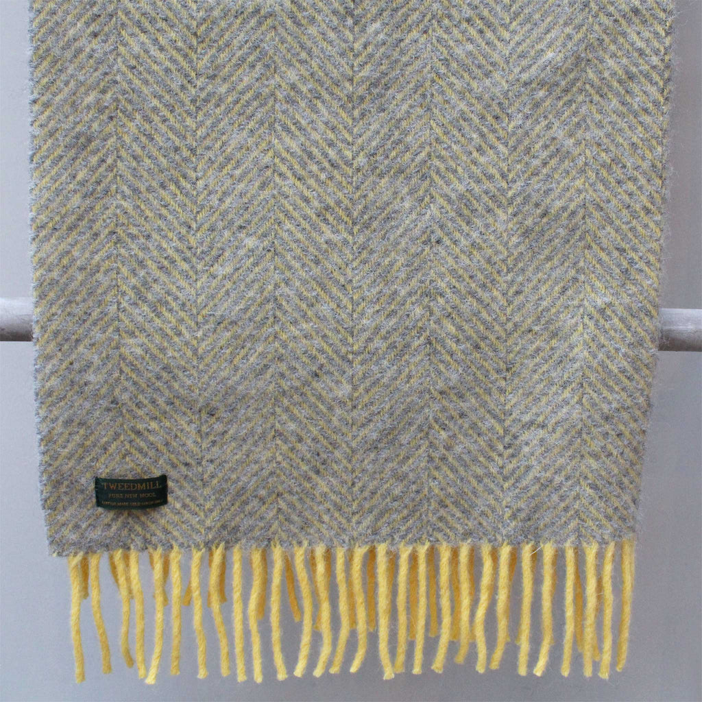 Herringbone Lemon & Silver Grey Throw