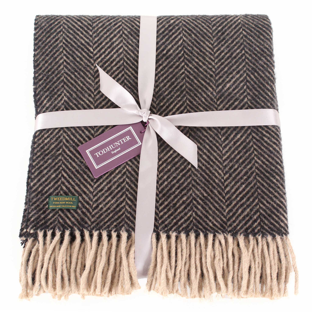 Herringbone Chocolate Vintage Throw