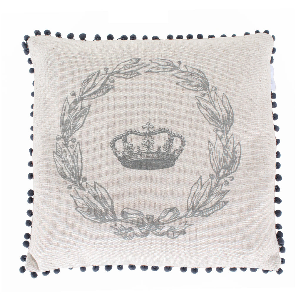 Crown Wreath Pom-Pom Cushion