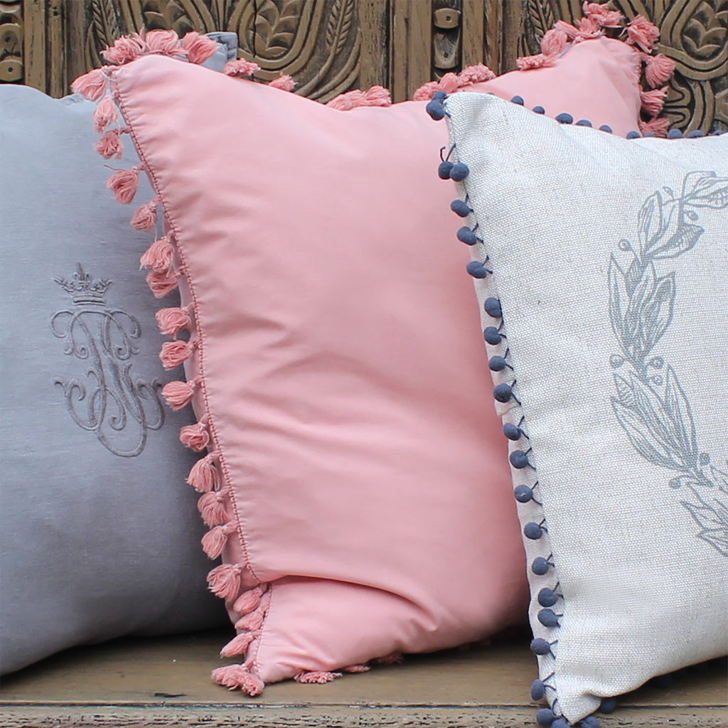 Vintage Rose Pink Tassel Cushion