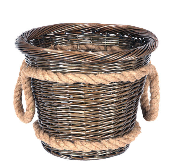 Todhunter Round Willow Basket with Rope Handle