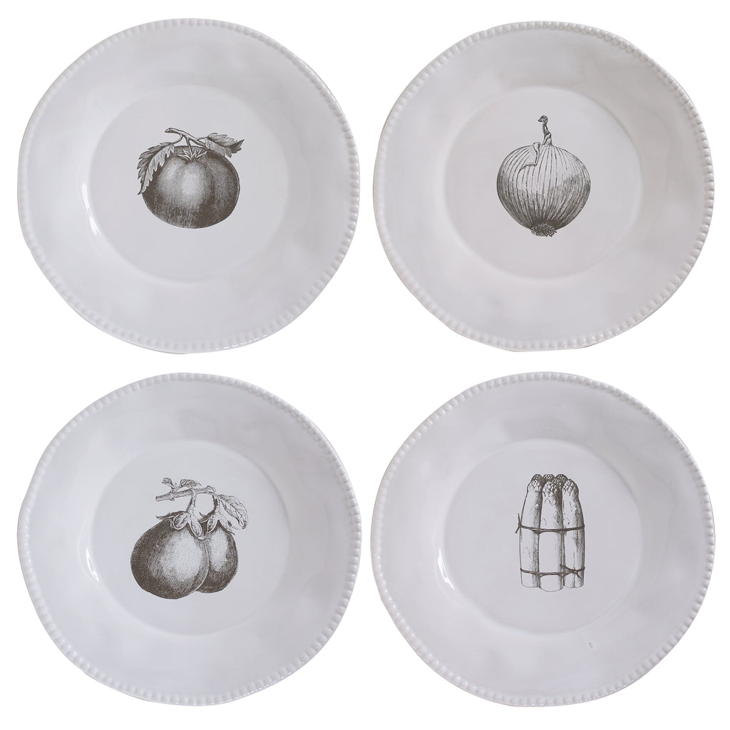 4 x Illustrated Vegetable Dinner Plates