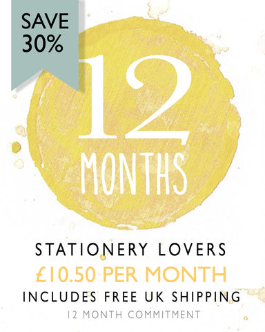 Stationery Lovers - 12 Monthly Stationery Subscription Box (Save 30%)