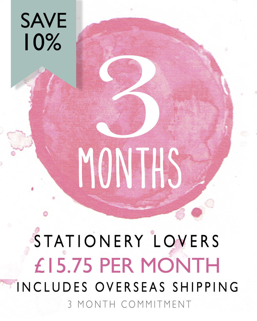 Stationery Lovers - 3 Month Subscription (Save 10%) Overseas