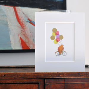 Bear and Balloons Foil Print