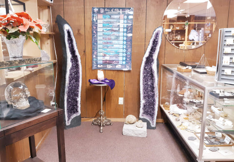 Museum quality Amethyst Cathedral pair at Gary's Rock Shop