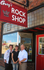 Gary and Dian Krause with Stacie Anthony, the new owner of Garys Rock Shop