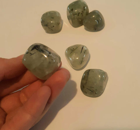 Prehnite with Black Tourmaline tumblestones set of 3