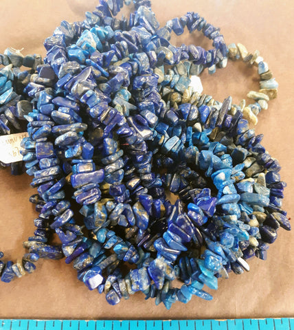 Necklace - Lapis chip beads