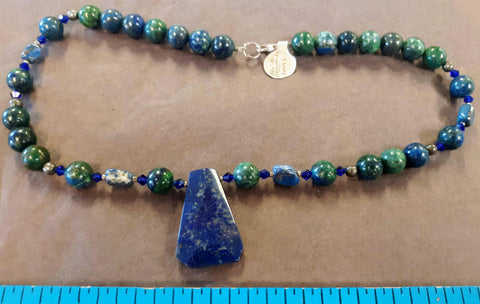 Necklace, beaded lapis, azurite and malachite