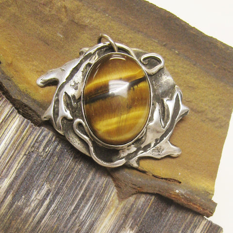 In the Woods, Oak and Tiger Eye Pendant