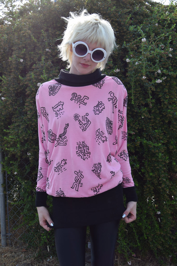 Vintage Keith Haring Inspired Slouchy Printed Top