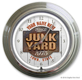 "Personalized GARAGE CLOCKS - 14"" Chrome and Neon"
