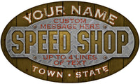 Personalized GARAGE Oval Signs - Wood and Steel Design