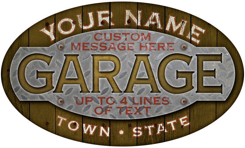 b998baea2b6ca Personalized GARAGE Oval Signs