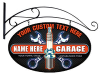 Personalized GARAGE Oval Signs - Spark Plug & Wrenches Design