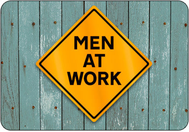 Men At Work Orange Caution Sign