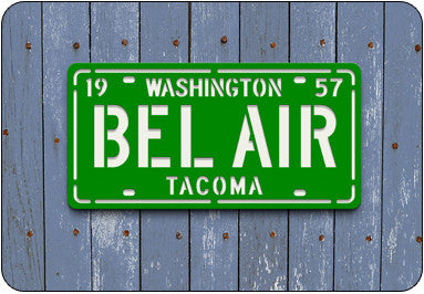 BEL AIR License Plate Sign