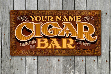 Personalized CIGAR BAR Signs