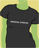 Biker Chick White on Black