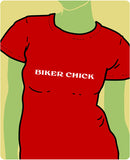 Biker Chick White on Red
