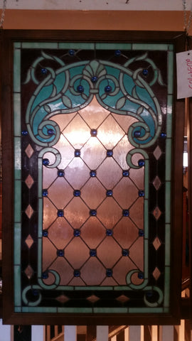 Glass Window - Stained Leaded Wood Frame w/ Blue Round Jewel Victorian Design