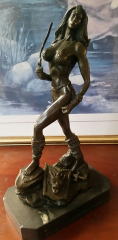 Bronze Figurine - Lady Warrior on Marble Base