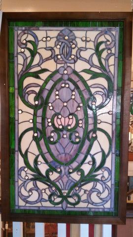 Glass Window - Stained Leaded Wood Frame Victorian w/ round Jewel and Green Border Design