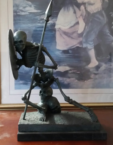 Bronze Figurine - Green Skeleton Warrior on Marble Base